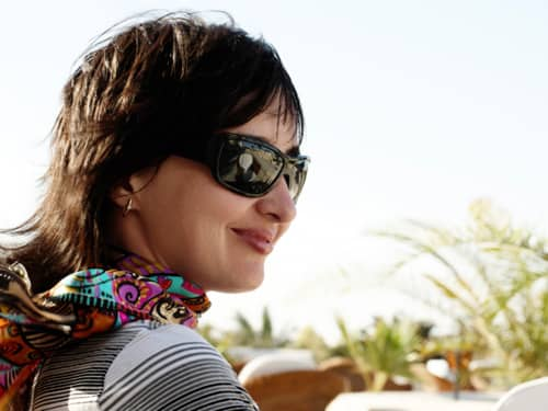 Relaxed woman with sunglasses