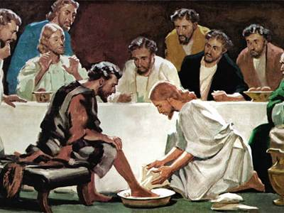 Image result for jesus washes feet lds