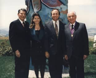 Ronald Reagan, with son Michael; Michael's wife, Colleen; and Mikhail Gorbachev