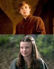 William Moseley as 'Peter Pevensie' and Georgie Henley as 'Lucy Pevensie'