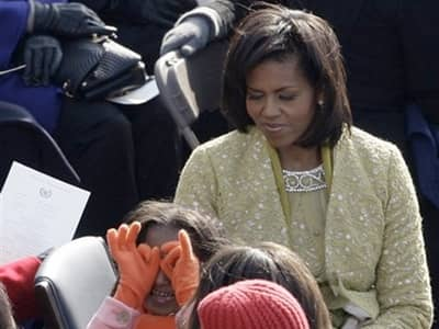 Michelle Obama and children at Inauguration