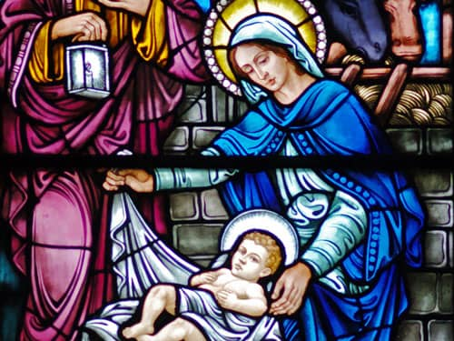 Madonna and child on stained glass window