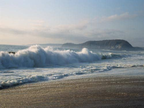 Ocean waves on beach