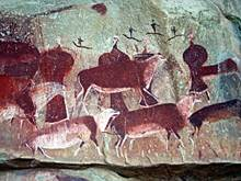 Ancient red cave painting