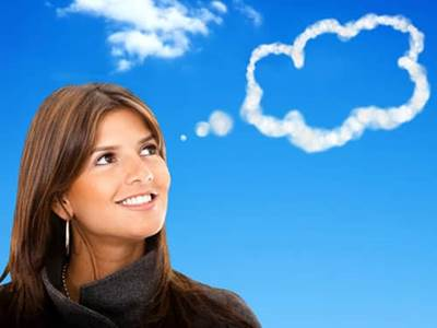 Thought bubble cloud coming out of woman's head