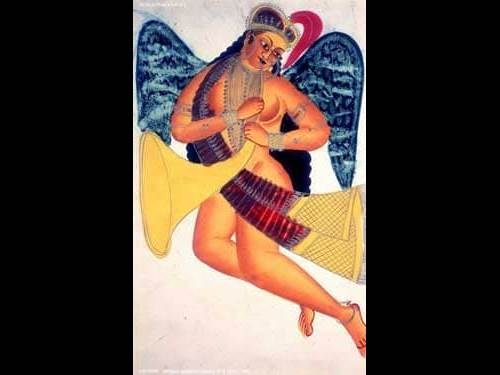 Winged Apsaras Playing on a Horn by Becheram Das Pande (India, 19th Century)