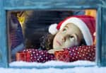 Young girl waiting for Santa Claus