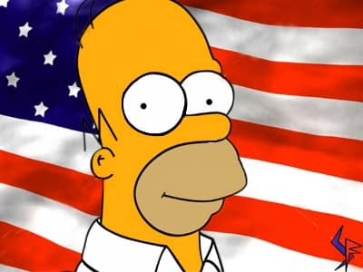 homer simpson and american flag