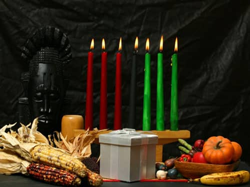 Celebrate Kwanzaa table altar candleholder