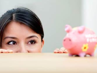 Woman Piggy Bank Desk