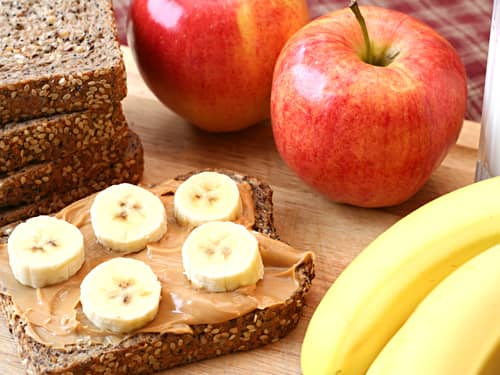 Apples and banana peanut butter bread