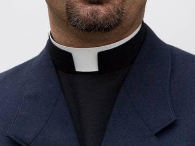 Priest wearing his collar