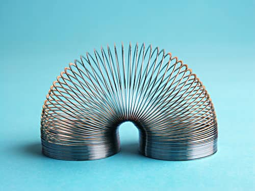Slinkey, collapsible metal spring toy