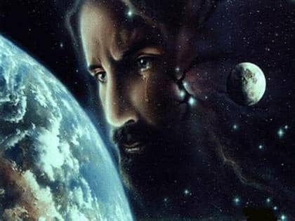Jesus staring at the universe