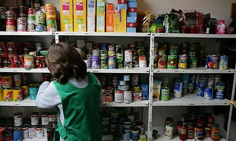 Woman working at food bank