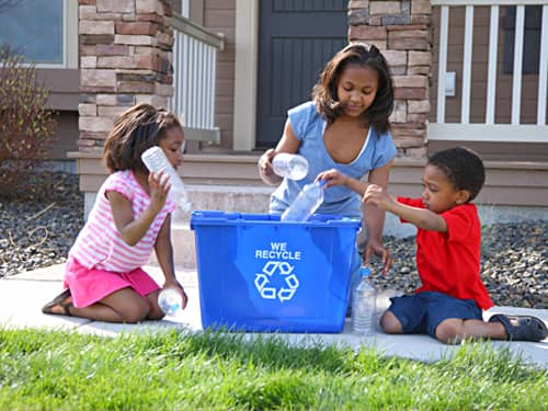 Teaching respect - family recycling