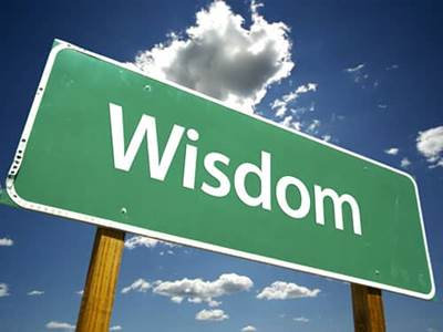 The word wisdom on green sign