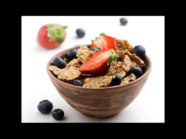 Healthy cereal and fruit