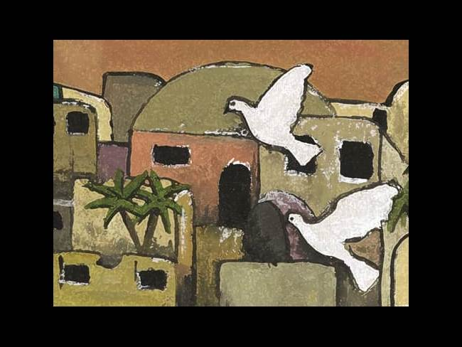 Peace mural with doves and jerusalem