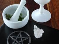Pentagram, mortar, pestle, and goblet