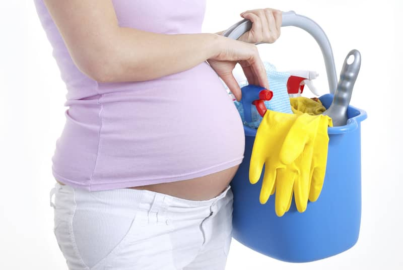 pregnant mom cleaning