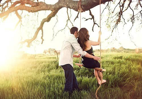 love, couple, happy, nature, swing