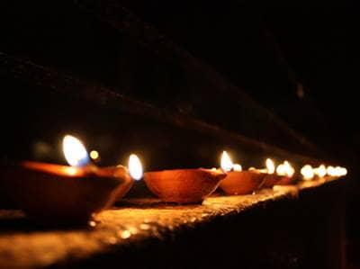 A Row of Diwali Diya Lamps