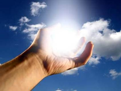Hand with light orb