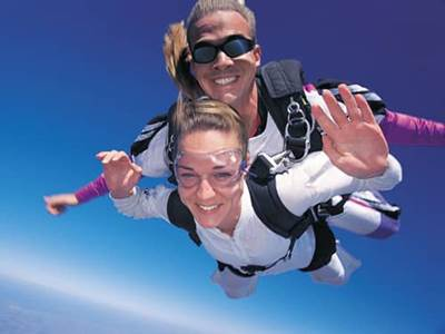 Couple skydiving