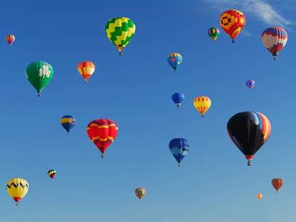 Multi-colored hot-air baloons