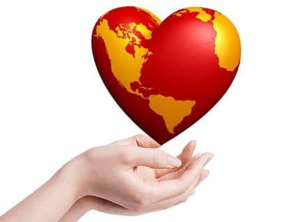 Heart-shaped earth