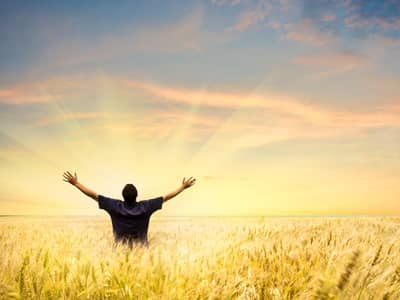 Man Rasing His Hands At Sunrise in a Field of Wheat
