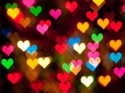 Heart-shaped rainbow lights