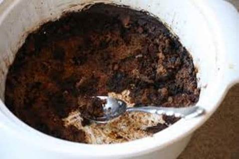 scorched food in pan