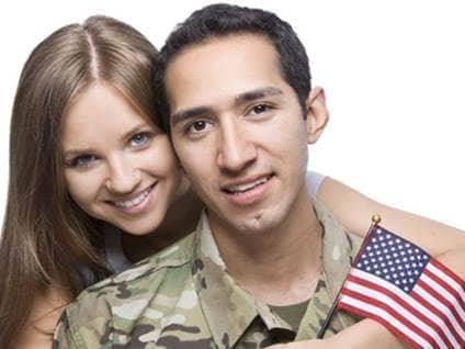 military couple with usa flag