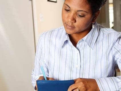 woman managing ck book