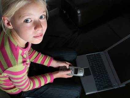 Girl Cell Phone Laptop