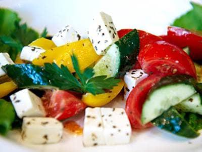 Feta red pepper yellow pepper cucumber tomato salad