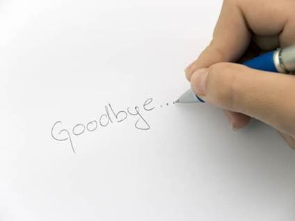 A goodbye note being written